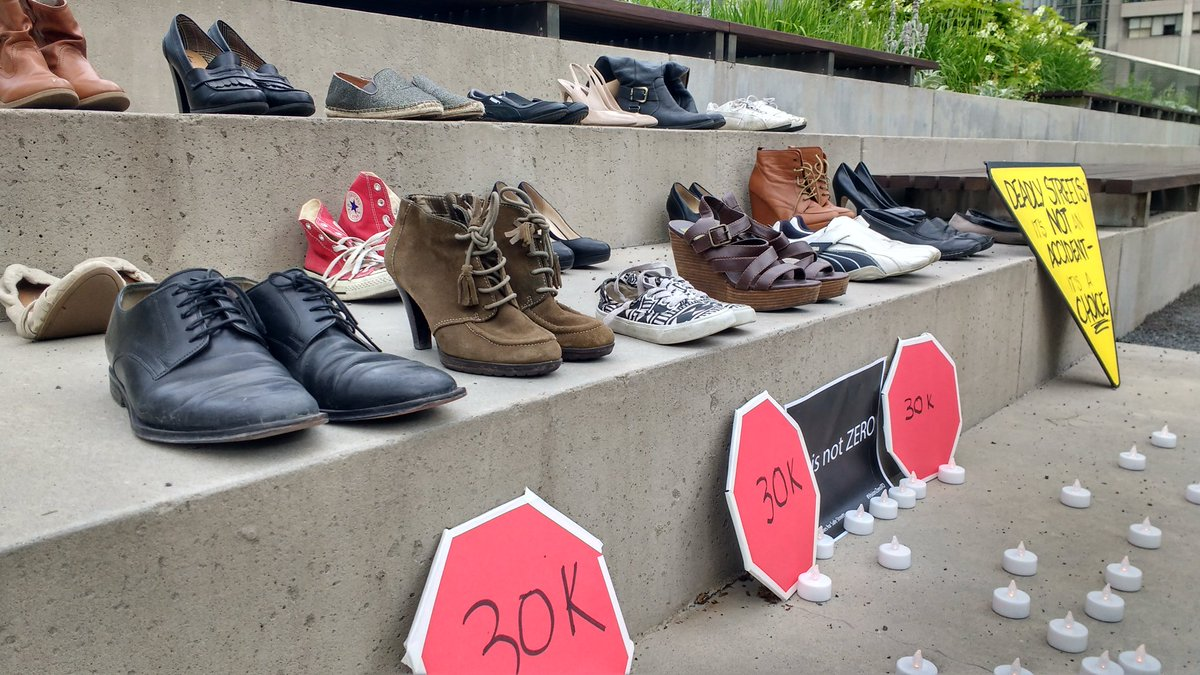 Shoes on display at a Vigil held by Friends and Families for Safe Streets