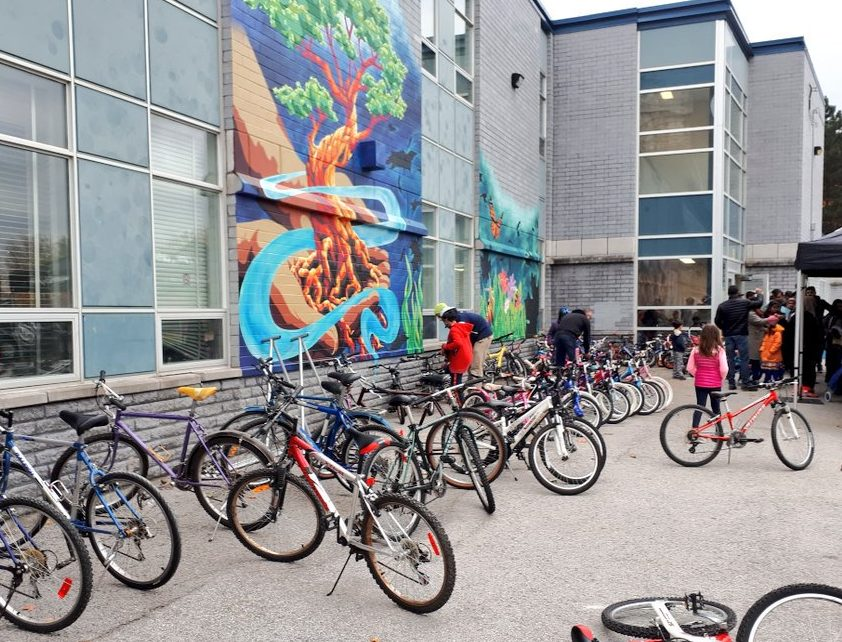 Bikes for the giveaway in Flemingdon and Thorncliffe Park