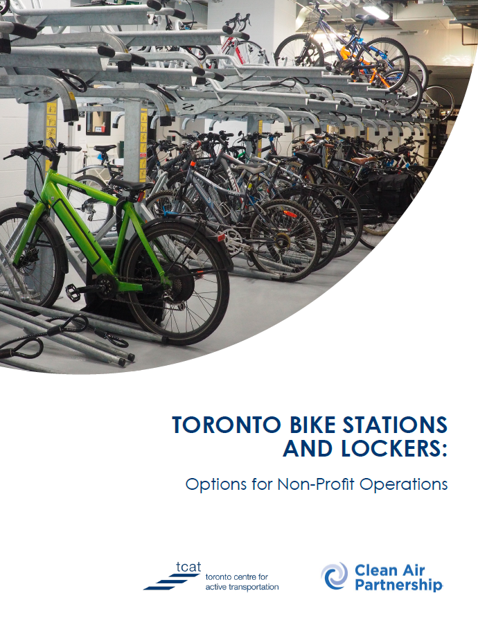 Cover of report about Toronto bike parking and options for non-profit operations