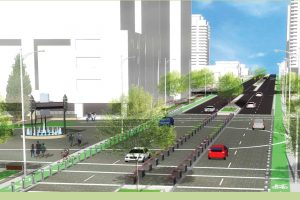 A rendering of Yonge St with wider, landscaped sidewalks, bike lanes, and a reduced number of car lanes