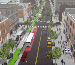 A rendering of an aerial view of Yonge Street as proposed with wider sidewalks, bike lanes and reduced number of vehicular lanes.