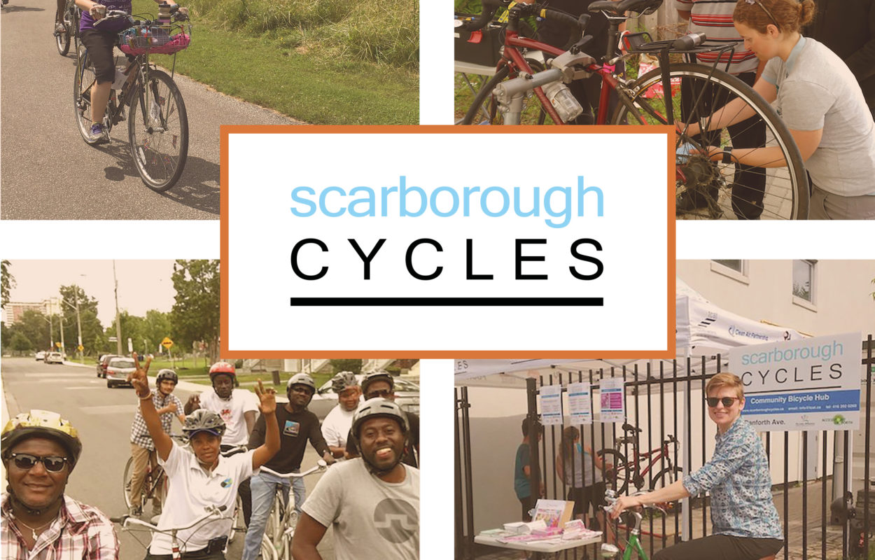 Scarborough Cycles Snapshot Cover with four photos of people cycling and the Scarborough Cycles logo in the middle