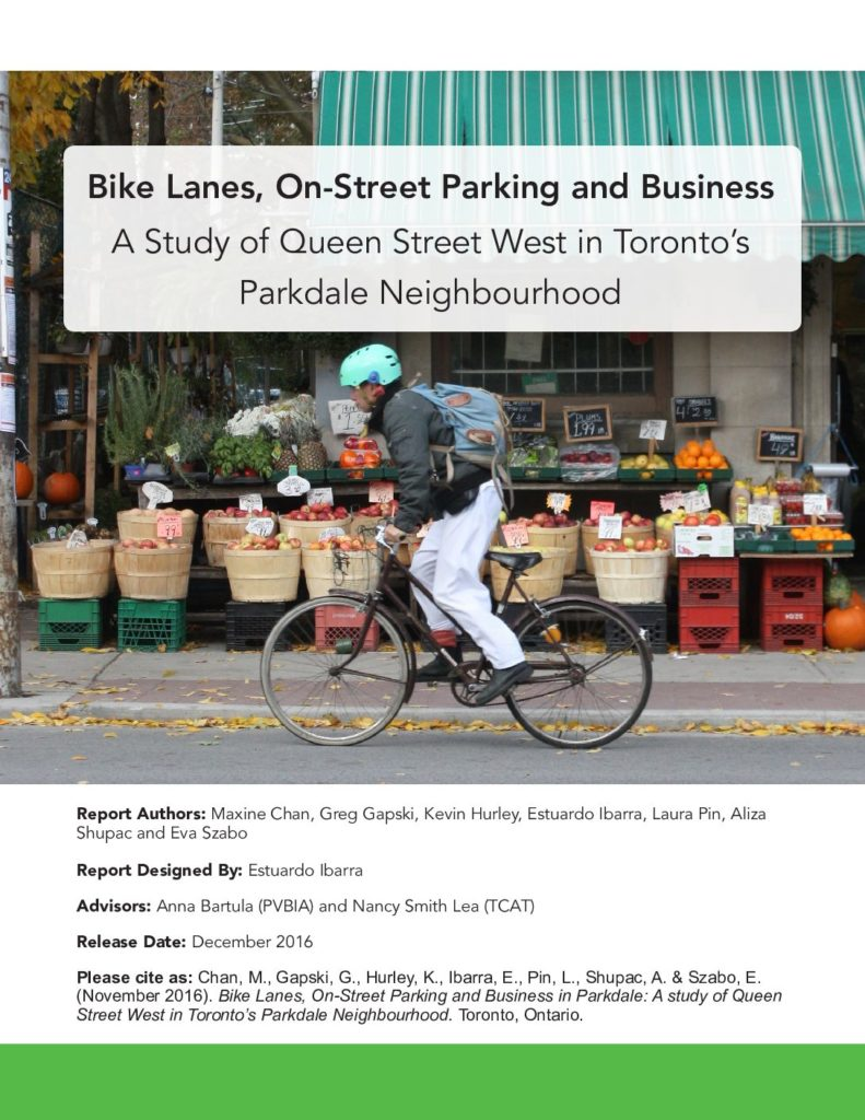 3f0790e642 Bike Lanes, On-Street Parking and Business A Study of Queen Street West in  Toronto's Parkdale Neighbourhood