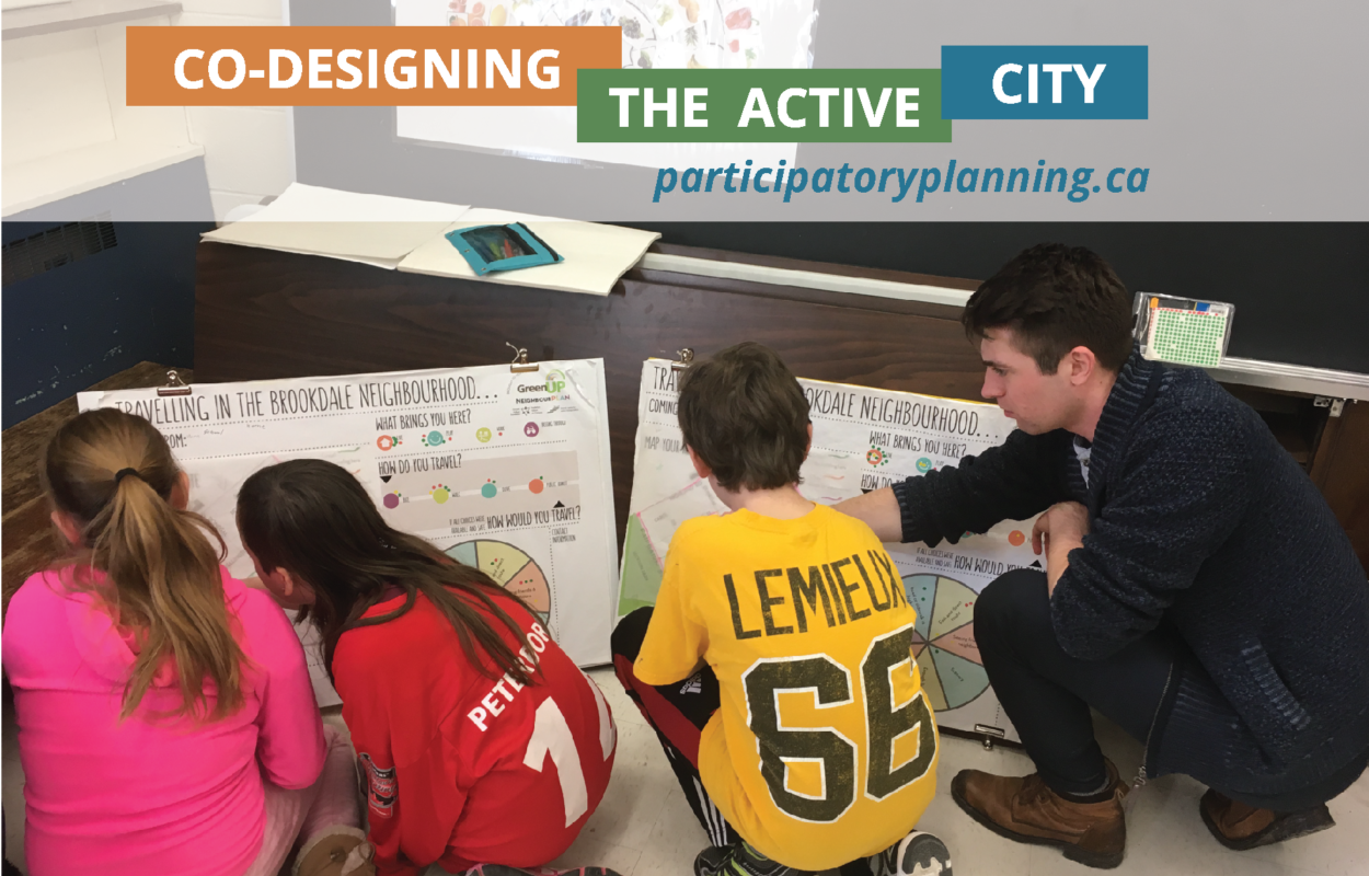 Three children are gathered around a poster board, a young man points to the board, the heading is Co-Designing the Active City