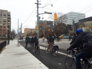 Example of a protected intersection for cyclists, Toronto