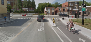 Example of a protected intersection for cyclists in Montreal