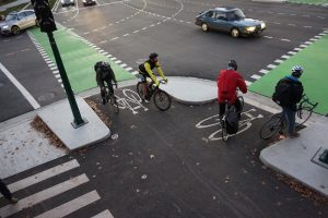Example of a protected intersection for cyclists, Vancouver
