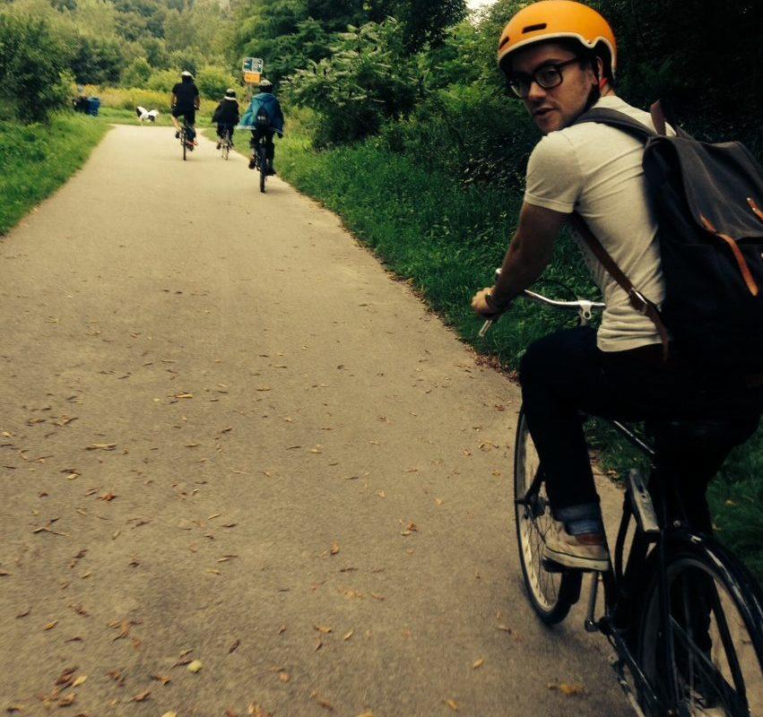 Mikey Bennington on a bike