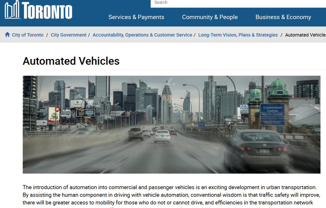 City of Toronto website on Automated Vehicles