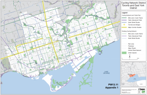 A map of Toronto's proposed 10 Year Cycling Network Plan