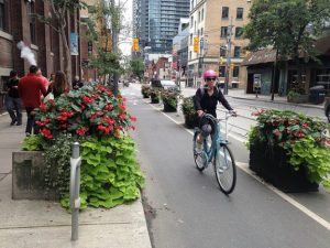 A picture of a woman riding a bicycle in a protected cycle lane with planters.