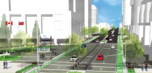 A rendering of Yonge Street as proposed in Transform Yonge with wider sidewalks, bike lanes and reduced number of vehicular lanes.