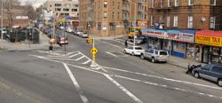 New York street before Vision Zero re-design