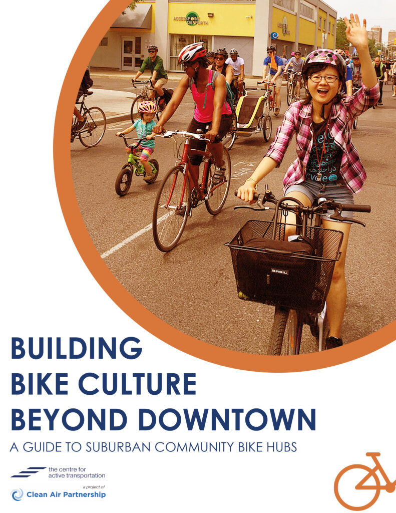 Cover of Building Bike Culture Beyond Downtown report, with title and a group of people cycling down a road
