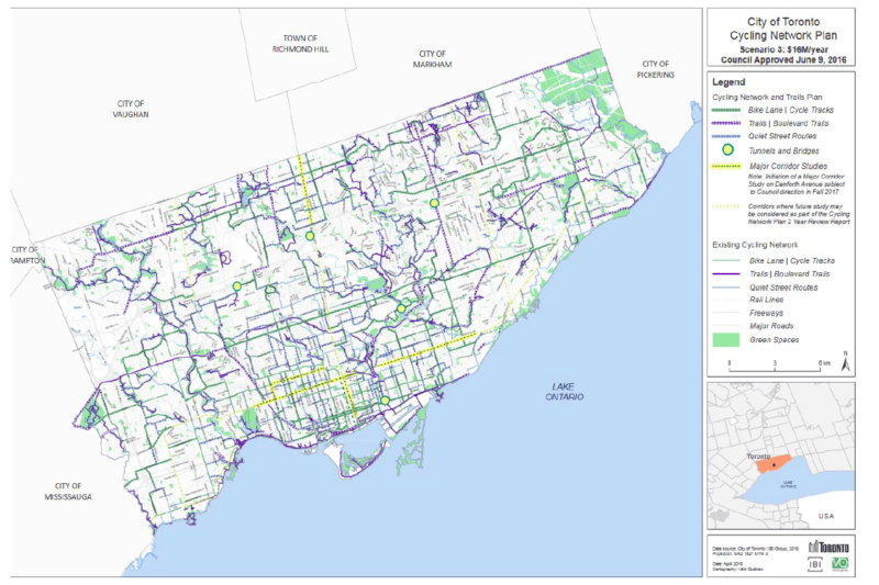 Map of Torontos Cycling Network Plan