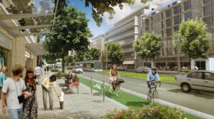 Artistic render of a street with bike lanes, sidewalks and people walking and biking