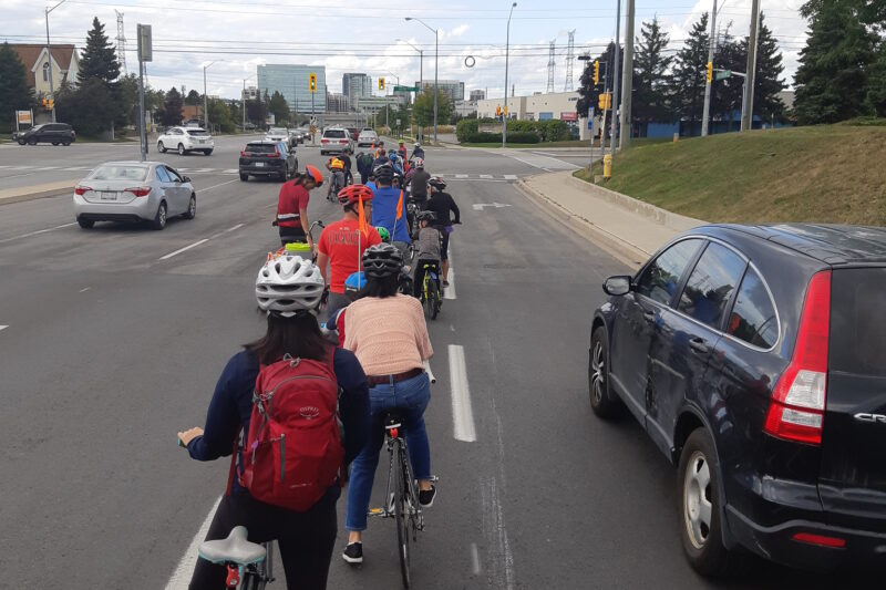 Cyclists on an arterial road