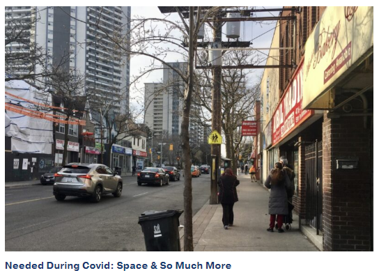 Picture of crowded sidewalk in Toronto with blog title: Needed during covid: space and so much more