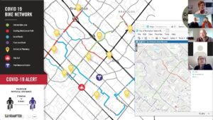 Screenshot of webinar with map of Brampton Covid 19 Bike Network and presenters' headshots